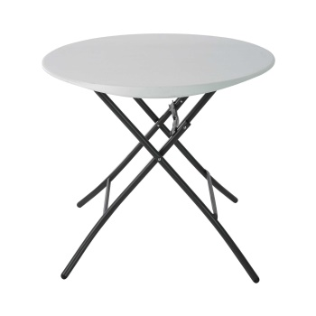 33-Inch Round Folding Table (white granite)