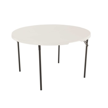 48-Inch Round Light Commercial Fold-In-Half Table (almond)