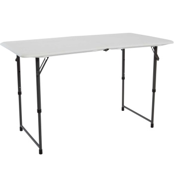 4-Foot Residential Adjustable Fold-In-Half Table (white granite)