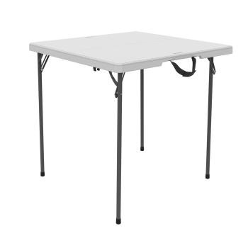 34-Inch Square Fold-In-Half Table (White Granite)