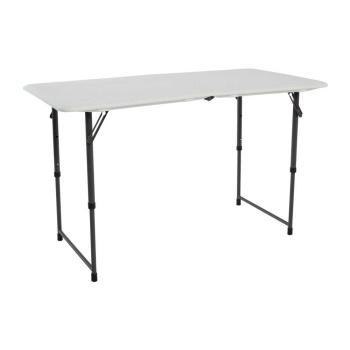 4-Foot Essential Adjustable Fold-In-Half Table (almond)