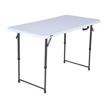 4-Foot Essential Adjustable Fold-In-Half Table (White Granite)