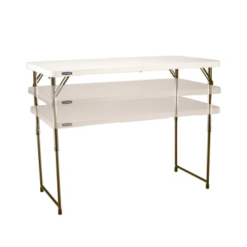 4-Foot Light Commercial Fold-In-Half Adjustable Table (almond)