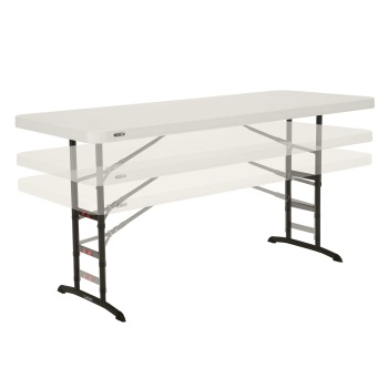 6-Foot Commercial Adjustable Height Folding Table (almond)