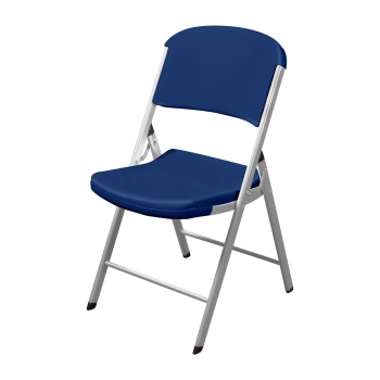 Classic Commercial Folding Chair (navy and silver)