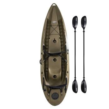 Sport Fisher Kayak (OD Green, Paddle, Backrest)