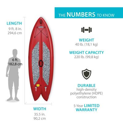 Lifetime Freestyle XL™ Paddleboard - The Lifetime Multi-Sport Paddleboard is 9 ft. 8 in. long x 35.5 in. wide x 6 in. thick. It has EVA foam pads, paddleboard leash attachment loop, and (2) injection molded retractable fins with shock cord straps. It comes in red with an adjustable stand-up fiberglass paddle (black). 5-year limited warranty. photo