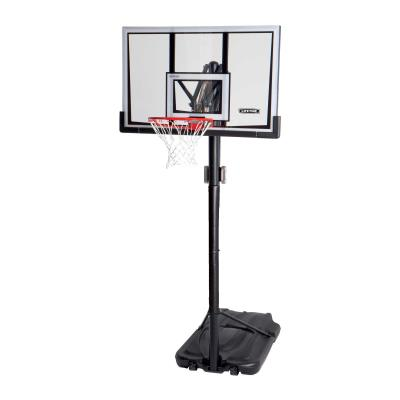 Lifetime Portable Basketball System - Features a clear 52 in. x 33 in. x 1 in. Steel-Framed Shatterproof Backboard with a blow-molded frame pad (black), Front Adjust™, 3.5 in. round pole - 3 piece (black), straight round extension arms (black), XL heavy-duty portable base, and a Slam-It® Rim (orange). Pole pad included (DA01500D). photo