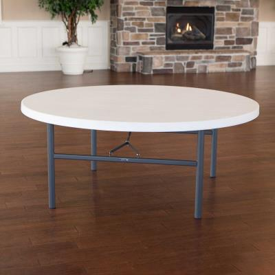 Lifetime 72-Inch Round Table (Commercial) - White Granite photo