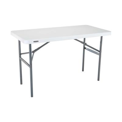 Lifetime 4-Foot Light Commercial Folding Table (24-pack) - Features a 48 in. x 24 in. molded tabletop (white granite) with a round folding frame (gray). 2-year limited warranty. photo
