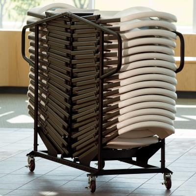Lifetime Contoured Chair and Cart Combo Set - Features a blow-molded seat and back (almond) with a steel folding frame (bronze). Consists of a pallet pack of 32 chairs (82803) and a chair cart (6525). photo