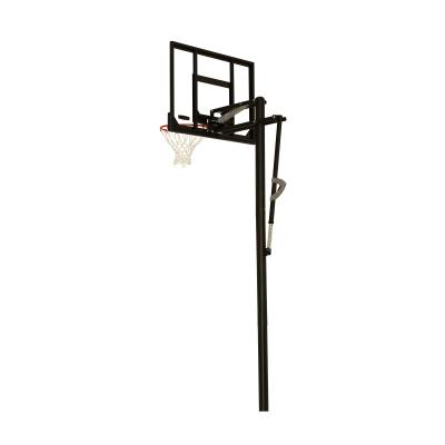 Lifetime's in-ground basketball hoops are the perfect option for beginning and season players alike! The backboard adjusts from 7.5 to 10 feet, allowing everyone to play the game at their own level. The backboard is steel framed with a polycarbonate playing surface, providing a professional feel. Invite friends, new and old, to make great memories together. photo