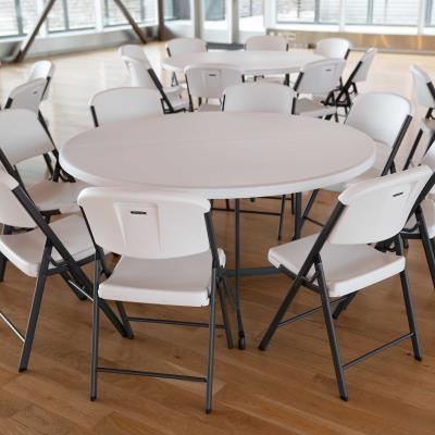 Lifetime 60-Inch Round Commercial Fold-In-Half Table - Features a 60 in. round molded tabletop (white granite) with a round folding frame (gray). 10-year limited warranty. photo