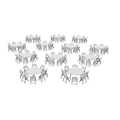 Lifetime (12) 60-Inch Round Stacking Tables and (96) Chairs Combo (Commercial) photo