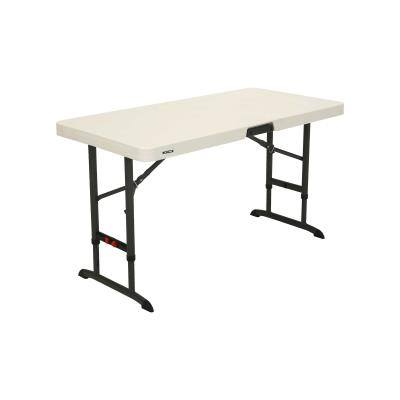 Lifetime 4-Foot Commercial Adjustable Folding Table - Features a 48 in. x 24 in. molded tabletop (almond) with a round folding frame (bronze). This table has three adjustable height settings (24 in., 29 in., and 36 in.) that can be adjusted with one hand, and comes with a 10-year limited warranty. photo
