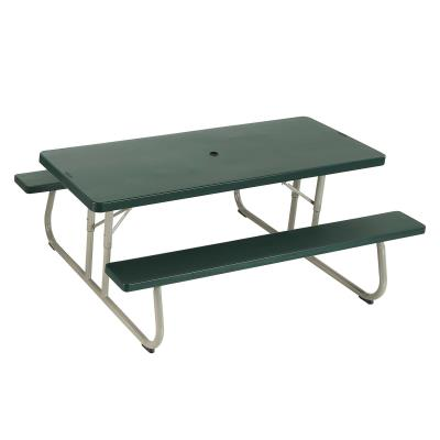 Lifetime 6-Foot Picnic Table -  The 72 in. x 30 in. high-density polyethylene tabletop is stain resistant, easy to clean and folds flat for storage. This model comes in hunter green, with a sand dune  1-5/8 in. round folding frame and includes an umbrella hole and cap. Single box packaging. 2-year limited warranty. photo