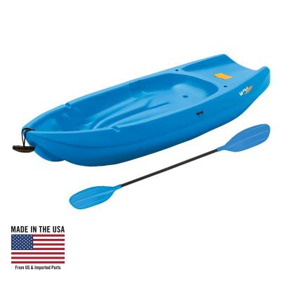 The 6 ft. Lifetime Wave™ Kayak is specifically designed for kids ages 5 and up, or up to 130 lbs. The wide stance provides a stable paddling platform to keep your child safely in the kayak. Its sloped back end and swim-up step allows the rider to easily re-enter the kayak from the water. With scupper holes, multiple footrest positions, and great stability, the Wave™ is perfect for kids recreational kayaking. photo