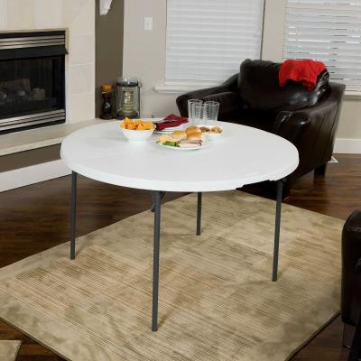 Lifetime 48-Inch Round Fold-In-Half Table (Light Commercial) - White Granite photo