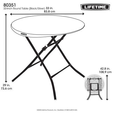Introducting Lifetime's new line of Premium Black & Silver Office Furniture. The Lifetime 33-Inch Round Folding Table creates a perfect area for crafts, working on projects or entertaining. It has a convenient, lightweight design matched with the strength and durability that Lifetime tables are known for. Creating the perfect set-up for a cocktail party, work event or family gathering is a cinch with its smooth, single-motion folding action. So get creative with your extra space and enjoy the simplicity and convenience of the Lifetime 33-Inch Folding Table. photo