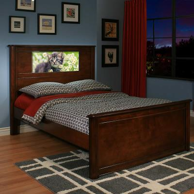 LightHeaded™ Riviera Full with LED Headboard Image - Features a wood bed frame in Cheshire Cherry with footboard storage for images, multi-function remote control, and a starter HeadLight™ image. Comes with a 1-Year Limited Warranty. photo