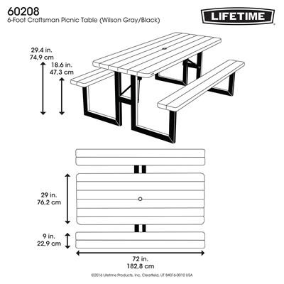 Lifetime 6 Foot Craftsman Folding Picnic Table