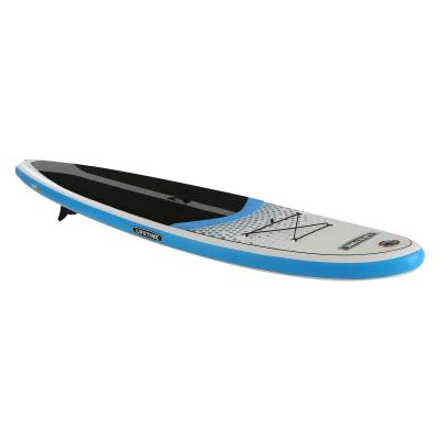 Lifetime Tidal iSUP - Lifetime's newest addition to watersports is the inflatable Tidal Paddleboard and is perfect for all ages and skill levels. At 11 ft. in length, 33 in. in width, and 6 in. thick, the Tidal iSUP offers a stable planing hull design that is suitable for beginners, while offering good performance for an intermediate paddler. Using PVC drop stitch construction, this paddleboard utilizes a sturdy air core, which makes it rigid, durable, and lightweight. The paddleboard is convenient to store and easy to transport with its very own backpack. Also included are a paddle, pump, removable fin, and repair kit, making this paddleboard ready for immediate use. With a 2-year limited warranty, this paddleboard is the perfect addition to your watersports collection.   photo