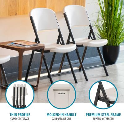Lifetime Classic Commercial Folding Chair (32-pack) - Features a blow-molded seat and back (almond) with a steel folding frame (bronze). This model comes as a 32-pack with a 10-year limited warranty. photo