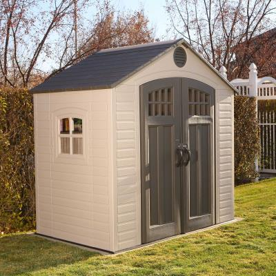 33.8 square ft. (232.7 cubic ft.) - The Lifetime 8 ft. x 5 ft. Outdoor Storage Shed features: 8-pane doors, horizontal siding, (1) ridge skylight, (2) screened vents, (1) 90 in. x 9 in. shelf, (1) shatter-proof polycarbonate window, and a 10-year limited warranty. Floor and installation hardware included. Comes in (2) boxes. photo