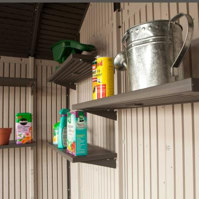 30 in. x 14 in. Shelf Accessory Kit (5-Piece) - Designed for the 11 ft. Lifetime Storage Buildings, the shelf accessory kit  includes 5 30 in. x 14 in. steel-reinforced shelves, 10 support brackets, and installation hardware. Compatible with sheds with horizontal siding. photo