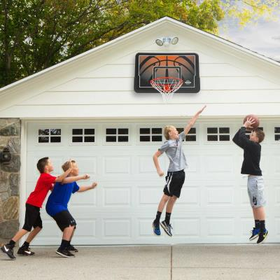 44 in. Backboard and Rim Combo - This wall/roof mount backboard and rim combo features a 44 in. Impact® Backboard (black) and a Classic Rim (orange). photo