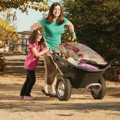 Lifetime Wheelbarrow - Features a 6.5 cubic ft. tub capacity, 2 treaded wheels, and holds up to 550 lb. Wheelbarrow is black with a silver powder-coated steel frame, and comes in (1) box. 2-year limited warranty. photo