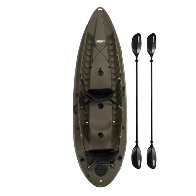 The 10 ft. Lifetime Sport Fisher™  is one of the most versatile fishing kayaks on the market. The comfortable tiered seating allows for the kayak to be paddled solo or tandem and can even transport a 3rd smaller passenger in the center seat. The tunnel hull design boasts 500 lb. of weight capacity and is incredibly stable making it nearly impossible to tip over. The Lifetime Sport Fisher™ includes two kayak paddles, two padded backrests which can be moved to any of the three seating positions, three flush-mounted fishing rod holders, and a 6 in. hatch for added storage sccess benethe the deck. It is also designed to accept the Lifetime Power Mate™ motor mount accessory (sold separately) making it possible to add an electric trolling motor to your kayak. photo