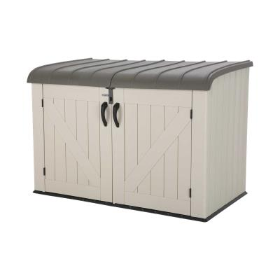 Need to expand your storage, but have limited space available? Store your things outside in a Lifetime Horizontal Storage Box. The rigid dual-wall high-density polyethylene (HDPE) construction makes the shed strong, durable, and sturdy. Its UV-protected construction and weather-resistant design help keep your valuables safe. Store two large garbage cans, or anything you need extra room for. photo