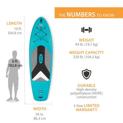 For entry-level and intermediate paddleboarders, the Lifetime Horizon Stand-Up Paddleboard (SUP) provides an affordable, stable, all-around performance SUP. The integrated universal accessory mount lets you take a waterproof camera or speaker with you on the water and the EVA deck covering provides great foot traction. The Horizon SUP includes our patented fin design which retracts into the tail section of the board, reducing the risk of breaking your fin while in use, or during storage or transport. Constructed of UV-protected high-density polyethylene (HDPE), the paddleboard is strong, durable, and fade resistant. The Lifetime Horizon SUP promises to help you paddle with confidence and style. photo