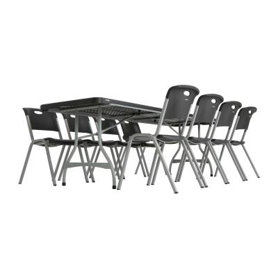 Lifetime 8-Foot Commercial Nesting Folding Table - Features a 96 in. x 30 in. molded tabletop (black) with a round folding frame (silver). This table is made with High Strength Low Alloy (HSLA) Steel, and has a nesting design that allows tables to stack together. Comes in a 27-pack with a 10-year limited warranty. photo