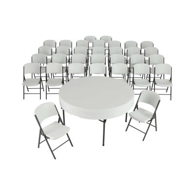 Lifetime combo sets match table and chair models that are known to pair well together. Lifetime 60-Inch Round Commercial Folding Tables are constructed of high-density polyethylene and are stronger, lighter and more durable than wood. The innovative nesting design lets multiple table stack together for space saving storage. They will not crack, chip or peel, and are built for indoor and outdoor use. The patented steel frame design provides a sturdy foundation and is protected with a powder-coated, weather-resistant finish. Perfect for banquets, meetings or events, Lifetime 60-Inch Round Folding Tables are built for the rigors of demanding commercial use and exceed challenging BIFMA standards.  Lifetime Commercial Folding Chairs are made of high-impact polyethylene, contoured for comfort, and designed for durability. Powder-coated High Strength Low Alloy (HSLA) steel creates a lighter chair with increased strength and stability. Lifetime Folding Chairs are lightweight, easy to clean and can be used indoor or out. The chairs exceeds demanding BIFMA standards and are perfect for your next meeting, event or family gathering. photo