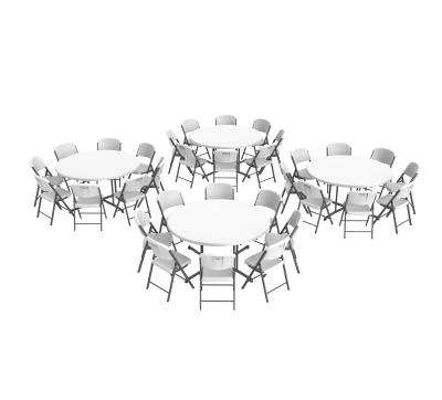 Lifetime 4 60 Inch Round Tables And 32 Folding Chairs Set