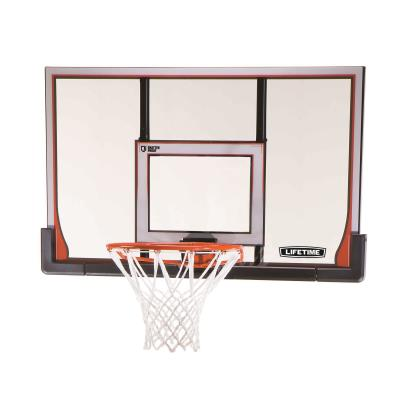 48 in. Backboard and Rim Combo (Elite) - This wall/roof mount backboard and rim combo features a clear, 48 in. x 30 in. x 1 in. Steel-Framed Shatterproof Backboard with a blow-molded frame pad (black) and a Slam-It Elite™ Rim (orange). photo