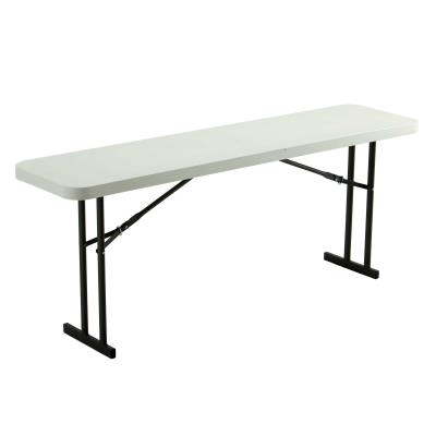 Lifetime 6-Foot Commercial Seminar Table - Features a 72 in. x 18 in. molded tabletop (white granite) with a round folding frame (gray). 10-year limited warranty. photo