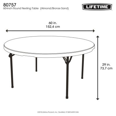 Lifetime 60-Inch Round Commercial Nesting Folding Table - Features a 60 in. round molded tabletop (almond) with a round folding frame (bronze). This table has a nesting design that allows tables to stack together. 10-year limited warranty. photo