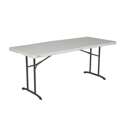 Lifetime 6-Foot Commercial Fold-In-Half Tables are constructed of high-density polyethylene and have a convenient folding design for easy transport and storage. The lightweight design, auto-locking feature, and convenient carry handle make it easy for anyone to set up and take down. Our tables are UV-protected, will not crack, chip or peel, and are built for indoor and outdoor use. The patented steel frame design provides a sturdy foundation and is protected with a powder-coated, weather-resistant finish. Built for the rigors of heavy-duty use, Lifetime Commercial Fold-In-Half Tables exceed challenging BIFMA standards and are perfect for your next banquet, event, or group gathering. photo