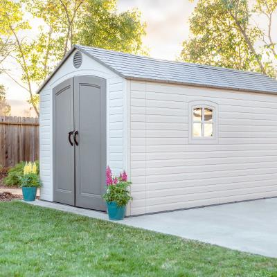 108.75 square ft. (749 cubic ft.) - The Lifetime 8 ft. x 15 ft. Outdoor Storage Shed features: (5) small skylights, (2) shatter-proof impact-resistant windows, (2) screened vents, (1) 90 in. x 9 in. shelf, (2) 30 in. x 10 in. shelves, (2) corner shelves, and a 10-year limited warranty. Floor and installation hardware included. Comes in (3) boxes. photo