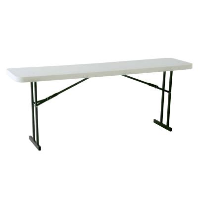 Lifetime 8-Foot Commercial Seminar Table - Features a 96 in. x 18 in. molded tabletop (white granite) with a round folding frame (gray). 10-year limited warranty. photo