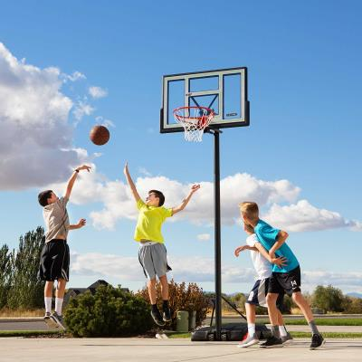 Lifetime Portable Basketball System - Features a 46 in. Shatter-Proof Fusion® Backboard (black), Quick Adjust® II, 3 in. round HSLA pole - 3 piece (black), Courtside heavy-duty portable base, and a Classic Rim (orange). 5-Year Limited Warranty. photo