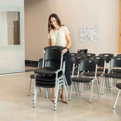 Lifetime Stacking Chair (14-pack) - Features a new innovative blow-molded seat and back (black) with a steel stacking frame (silver). This model comes as a 14-pack with a 10-year limited warranty. photo