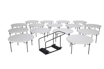 Lifetime (15) 60 in. Round Tables and Cart Combo photo