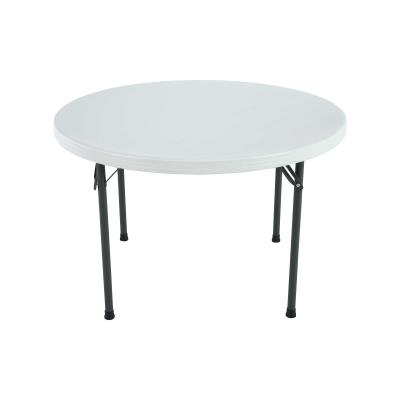 Lifetime 46-Inch Round Commercial Folding Table - Features a 46 in. round molded tabletop (white granite) with a round folding frame (gray). 10-year limited warranty.  photo