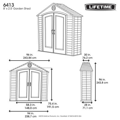 Lifetime 8 Ft. x 2.5 Ft. Outdoor Storage Shed photo