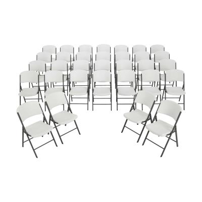 Lifetime Classic Commercial Folding Chair (32-pack) - Features a blow-molded seat and back (white granite) with a steel folding frame (gray). This model comes as a 32-pack with a 10-year limited warranty. photo