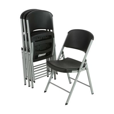 Lifetime Classic Folding Chair - Black with Silver Frame photo